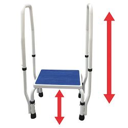 AdjustaStep(tm) DoubleSafe Deluxe Step Stool/Footstool with Dual Handle/Handrail, Height Adjusta ...