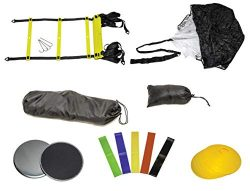 GetupGo Speed Training Kit with eBook-Includes Bag, Agility Ladder, Parachute, Cones, Sliding Di ...