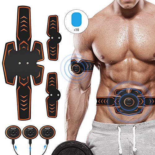 ROKOO Abs Stimulator Muscle Trainer Equipment with 10 Gel Pads, EMS Abdominal Toning Belt for Me ...