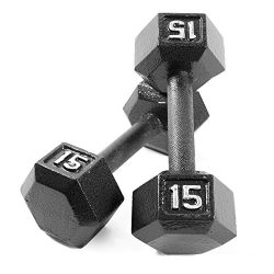 CAP Barbell Cast Iron Hex Dumbbell Weights (Pair), Black, 15 lb