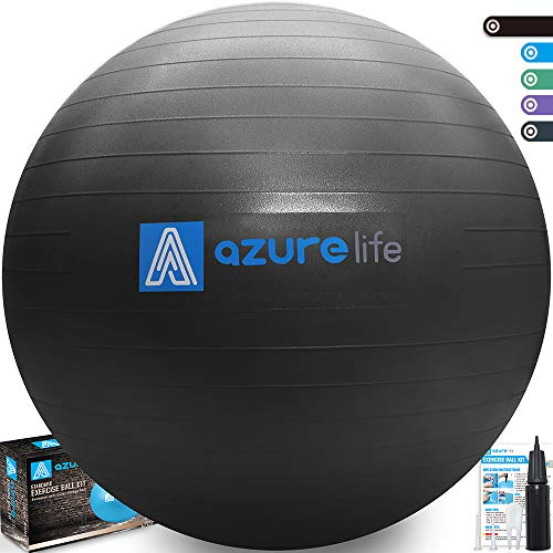 AZURE LIFE Professional Grade Exercise Ball, Anti-Burst&Non-Slip Stability Balance Ball with ...