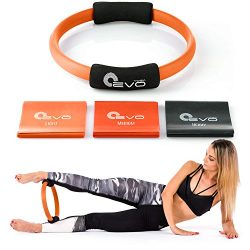 Yoga EVO Foam Grip Pilates Ring + Resistance Bands – Fitness Magic Circle for Toning Thigh ...