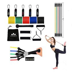 DUMSAMKER Resistance Bands Set -【2019 Upgraded】 Exercise Bands with Handles, Ankle Straps, Doo ...