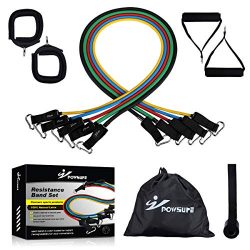 Powsure Resistance Bands Set – Include 5 Stackable Exercise Bands with Handles, Door Ancho ...