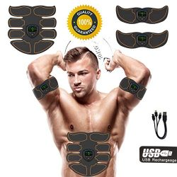 JIRUN Abs Stimulator Ab Stimulator Rechargeable Muscle Toner Trainer Ultimate Abs Stimulator for ...