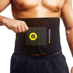 ActiveGear Premium Waist Trimmer Belt Slim Body Sweat Wrap for Stomach and Back Lumbar Support ( ...