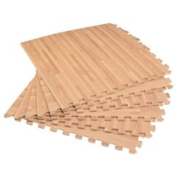 Forest Floor 3/8″ Thick Printed Wood Grain Interlocking Foam Floor Mats, 168 Sq Ft (42 Til ...