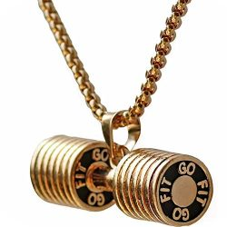 Men's Stainless Steel Fitness Gym Dumbbell Weight Lifters Barbell Chain Pendant Necklace Gold
