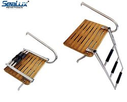 SeaLux Marine Outboard Teak Swim Platform with Over TOP Mount 3-Step Ladder