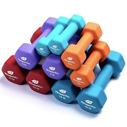 Fitness Alley Neoprene Dumbbell 5 Pairs Set Coated for Non Slip Grip – Hex Dumbbells Weigh ...