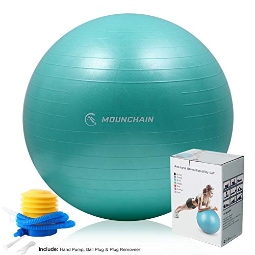 Mounchain Yoga Ball for Fitness, Exercise Ball 2000lbs Anti Burst Equipment for Home Workout, Ba ...