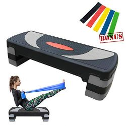 Weanas 32″ Workout Aerobic Stepper, 4″ 6″ 8″ Levels Height-Adjustable Ex ...