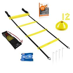 20ft Agility Ladder Extra Width, 12 Disc Cones & Speed Jump Rope Training Set | Exercise Wor ...