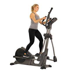 Sunny Health & Fitness Magnetic Elliptical Trainer Elliptical Machine w/Tablet Holder, Progr ...