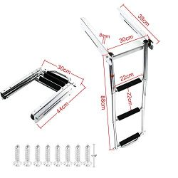 DasMarine 3 Step Ladder Under Platform Sliding Ladder Stainless Steel 316 Spring Loaded Latch wi ...
