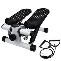 Iuhan  Health Fitness Mini Stepper with Band, Household Gym Hydraulic Mute Stepper Multi-Functio ...