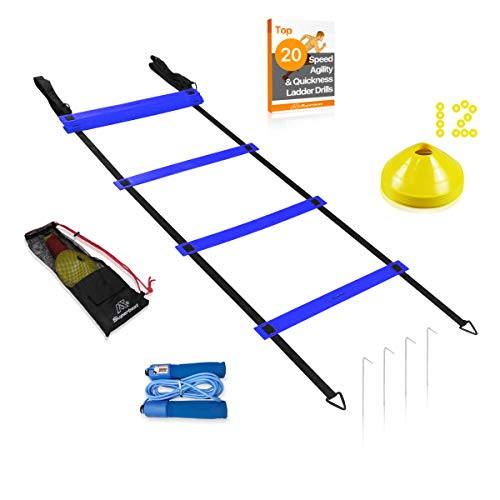 Extra Wide 20ft Agility Ladder, 12 Disc Cones & Jump Rope Training Set | Exercise Workout Eq ...