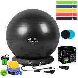AILUKI Yoga Ball, Exercise Ball Fitness Balls Stability Ball Anti-Slip & Anti- Burst for Yog ...