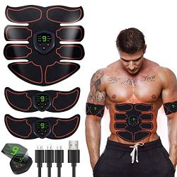 HAIJIXING ABS Stimulator Abs Muscle Toner EMS Portable Rechargeable Gym Workout Training and Hom ...