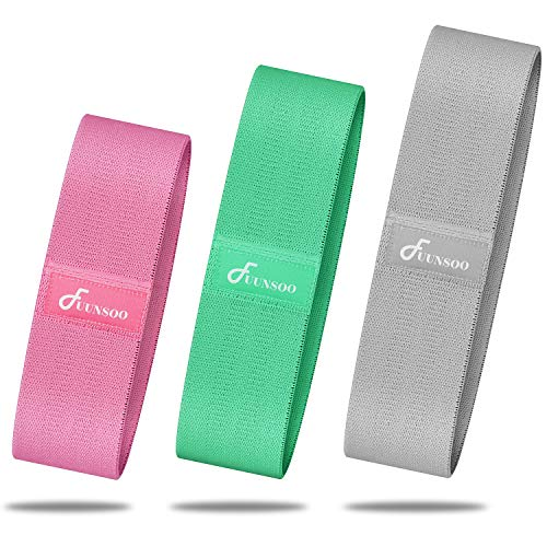 FUUNSOO Resistance Loop Bands, Anti-Slip Exercise Bands for Legs and Butt, Fabric Workout Bands  ...