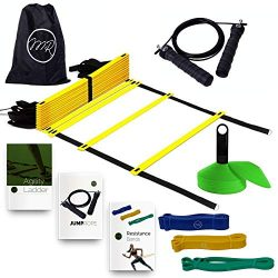MRProdux Speed and Agility Training Equipment Set with eBook Workout Guides | Ladder, Cones, Res ...