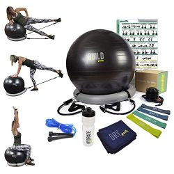 Workout Ball Set: Exercise Ball with Resistance Bands, Poster, Stability Base, Training Bands, J ...