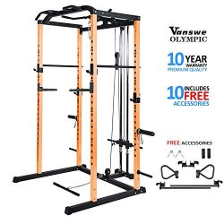 Fitness Power Rack Power Cage Home Gym Equipment Exercise Stand Olympic Squat Cage with LAT Pull ...