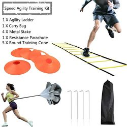 JEMPET Speed Agility Training Kit-Includes Agility Ladder, 5 Round Training Cones, Resistance Pa ...