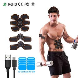HOSETOP Rechargeable Abs Muscle Trainer, Abdominal Toning Belt, Abs Muscle Toner, Portable Muscl ...