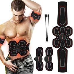 RoMere ABS Stimulator Muscle Toner Abdominal Toning Belt Workouts Portable EMS Training Home Off ...