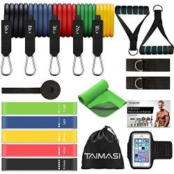 TAIMASI 19PCS Resistance Bands Set Workout Bands, 5 Stackable Exercise Bands with Handles, 5 Res ...