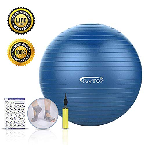 Exercise Ball,FayTOP Yoga Ball 65 cm for Fitness, Workout, Balance, Pilates, Birthing. Professio ...