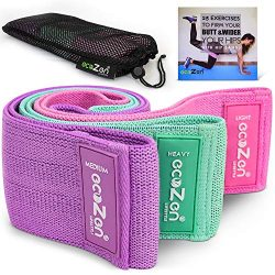 ecoZen Lifestyle Non-Slip Hip Bands for Legs and Butt Workout | Set of 3 Fabric Bands for Exerci ...