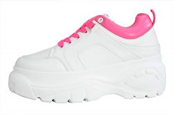 LUCKY-STEP Womens Chunky Sneakers – Athletic Sports Walking Shoes with Lace Up Platform Le ...