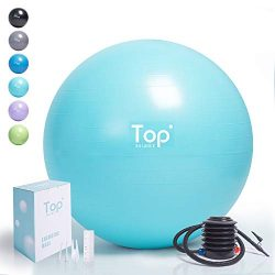 Top Balance Anti-Burst Exercise Ball (Turkis, 55cm), Extra Thick Construction Supports up to 100 ...