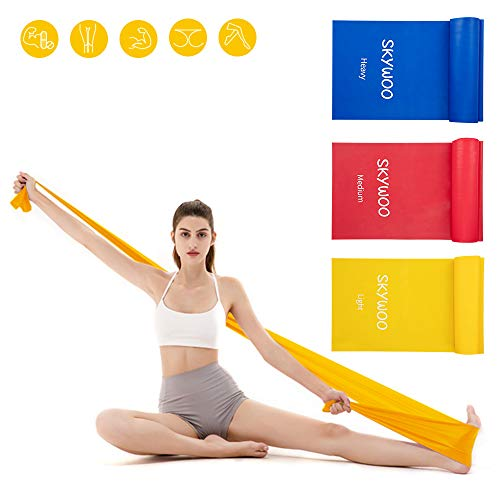Skywoo Exercise Band Set, Long Latex Free Elastic Bands Wide Fitness Resistance Bands for Pilate ...