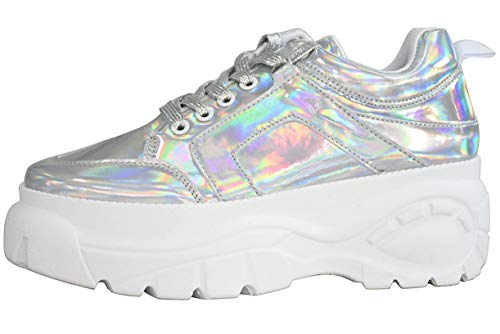 LUCKY STEP Women Chunky Platform Dad Colorblock White Neon Green Fuchsia Hologram Silver Casual  ...
