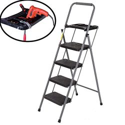 Easyzon Folding 4 Step Ladder with Tool Platform Tray Equipment Stool Ladder Lightweight for Ind ...