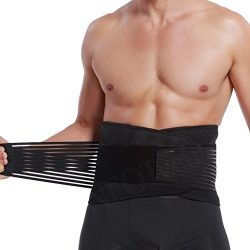 Lumbar Support with Double Banded Strong Compression Pull Straps, Breathable Waist/Lower Back Br ...
