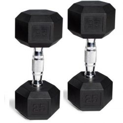 CAP Barbell Rubber-Coated Hex Dumbbells, Set of 2, 25 Lb Pair (50 Lbs Total)