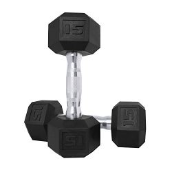 CAP Barbell SDPP-030 Color Coated Hex Dumbbell, Black, 15 pound, Pair