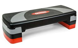 YOGU Adjustable Workout Fitness Aerobic Stepper Exercise Platform with 4 Risers- Adjust 4″ ...