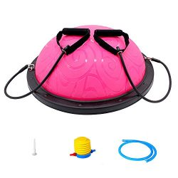 ATIVAFIT Half Ball Balance Trainer with Straps Yoga Balance Ball Anti Slip for Core Training Hom ...
