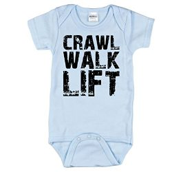 Funny Baby Clothes, Crawl Walk Lift, Blue 6-12 mo