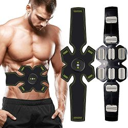 BLUE LOVE Waist Trimmer Ab Belt,Muscle Stimulator, EMS Abs Trainer Abdominal Belt USB Rechargeab ...