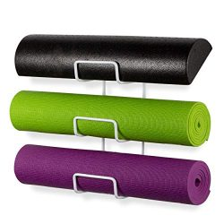 Wallniture Wall Mount Yoga Mat Foam Roller and Towel Rack Holder for Your Fitness Class or Home  ...