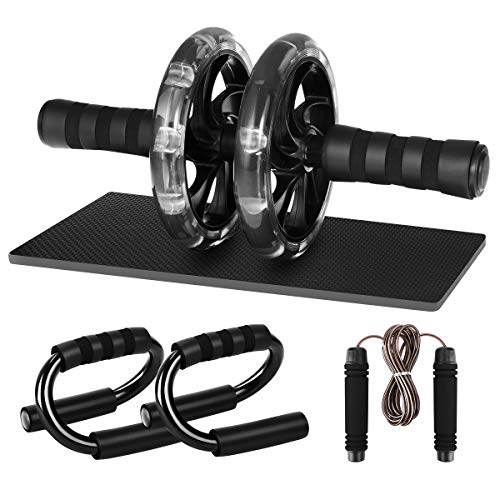 MOVTOTOP 4-in-1 AB Wheel Roller Kit, AB Roller with Push-Up Bar, Adjustable Jump Rope and Knee P ...