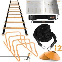 Ulimate Speed Training Set – Agility Ladder, Bungee Resistance Cord, 4 Adjustable Hurdles, ...