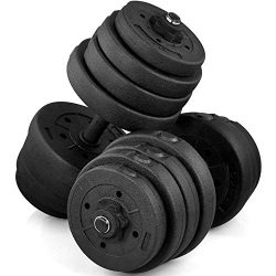 Yaheetech 66 Lb Dumbbell Set 16 Adjustable Weight Plates & 2 Olympic Dumbbell Handles for Ho ...
