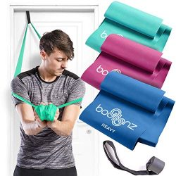 Bodbanz Resistance Bands Set of 3 Non Latex Elastic Bands with Door Anchor for Upper – Low ...